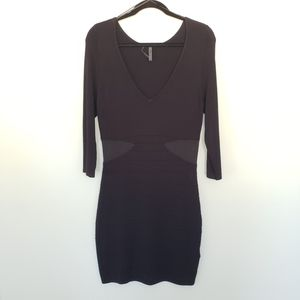 Guess Black Body Con 3/4 Sleeve Mesh Inset Dress